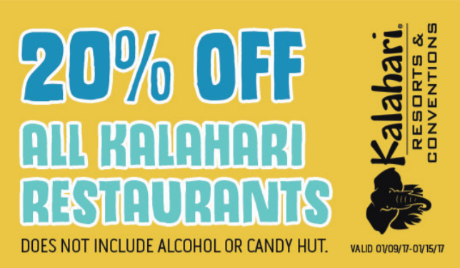 Kalahari Resorts Coupons website view If you're looking for a getaway that's close to home, and that includes lots of things to do for the entire family, you should check out Kalahari Resorts. They have three different locations; Sandusky, Ohio, Wisconsin Dells, Wisconsin, and coming in the summer of , Pocono Mountains, PA.